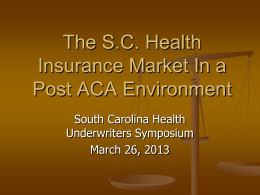 SC DOI Presentation - South Carolina Association of Health