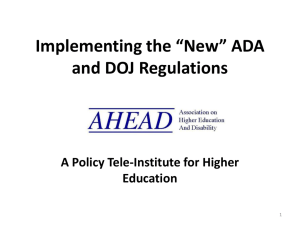 Implementing the *New* ADA and DOJ Regulations