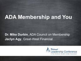ADA Members Insurance - American Student Dental Association