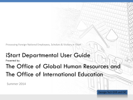 iStart Departmental User Guide - Office of International Education