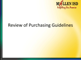 Review of Purchasing Guidelines - McAllen Independent School