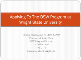Applying To Social Work at Wright State University