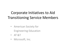 Corporate Initiatives to Aid Transitioning Service Members