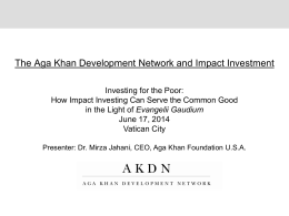 Dr. Mirza Jahami - Investing for the Poor