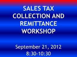 Sales Tax Collection and Remittance Workshop-RWB