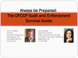 The OFCCP Audit and Enforcement Survival Guide