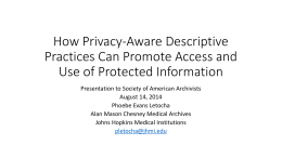 How Privacy-Aware Descriptive Practices Can Promote Access and