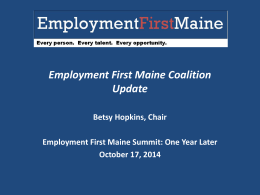 EmploymentFirstMaine An Overview of EFM`s first year