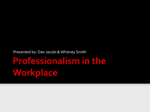 Professionalism in the Workplace - UWA Athletic Training & Sports
