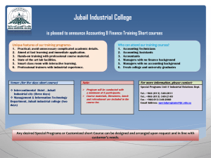 Jubail Industrial College is pleased to announce Accounting