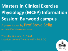 Master of Clinical Exercise Physiology course