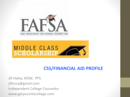 Financial Aid Night 2014 PowerPoint presentation