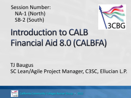 Introduction to CALB Financial Aid 8.0