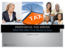 Individual Tax Issues PowerPoint