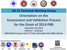 Consultation Meeting with the PBB Focal Persons