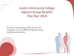 Austin Community College Adjunct Group Benefits Plan Year 2013