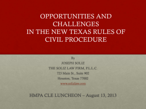 New civil procedure rules - the Houston Metropolitan Paralegal