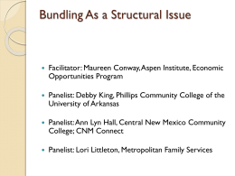 Bundling as a Structural Issue: Community Colleges