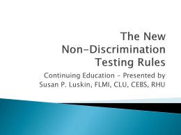 Non Discrimination Testing