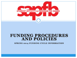 SAPFB Funding Procedures - University of Hawaii at Manoa