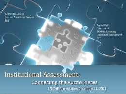Institutional Assessment: Connecting the Puzzle Pieces