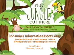 Consumer Information Boot Camp
