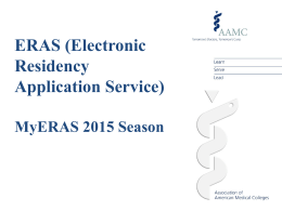 ERAS Application Program Workshop PowerPoints, Class of 2015