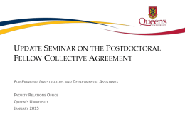 Postdoctoral Fellow Update Session PowerPoint