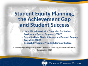 Student Equity Background - California Community Colleges