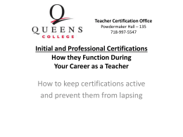 Professional Certification - Queens College