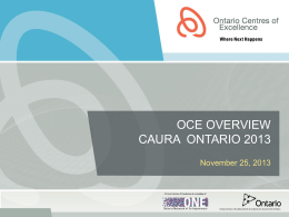 Ontario Centres of Excellence: Programs and Process Update