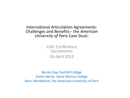 International Articulation Agreements: Challenges and Benefits