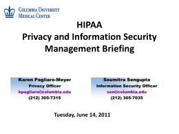 Privacy & Information Security Management Briefing