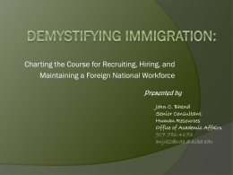 Demystifying Immigration: - University of Alaska Anchorage