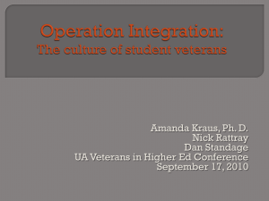 Operation Integration: The culture of student veterans
