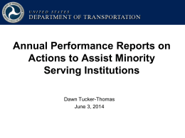 Annual Performance Reports on Actions to Assist