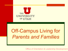 Commuting to the U from Off-Campus or Home