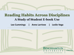 Reading Habits Across Disciplines: A Study of Student