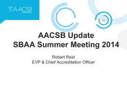 AACSB Update, by Robert Reid - Southern Business Administration