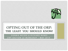 of ORP/Section 60 Workshop
