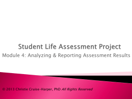 Module Four: Analyzing and Reporting Assessment Results