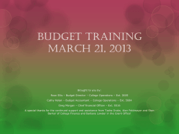 Budget Training March 21, 2013