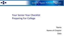 Graduation Checklist - PPT for presenters
