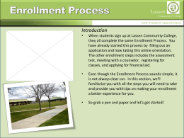 Enrollment Process - Lassen Community College