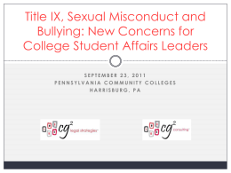 Title IX, Sexual Misconduct and Bullying: New