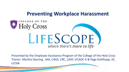 Preventing Workplace Harassment November 2014