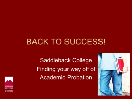 BACK TO SUCCESS! - Saddleback College