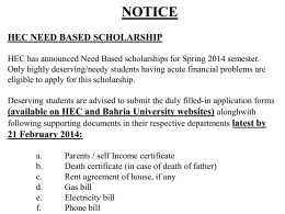 Notice Hec need based scholarship Hec has announced Need
