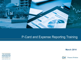 P-Card and Expense Reporting Training