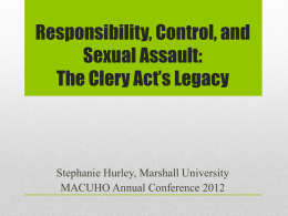 The Clery Act - Mid-Atlantic Association of College and University